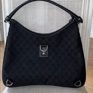 Gucci Abbey D Ring Denim Black Hobo guccissima bag